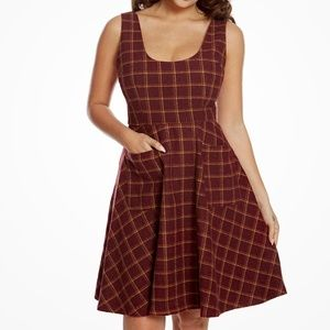 Lindy Bop Paulette Dress in Red Check